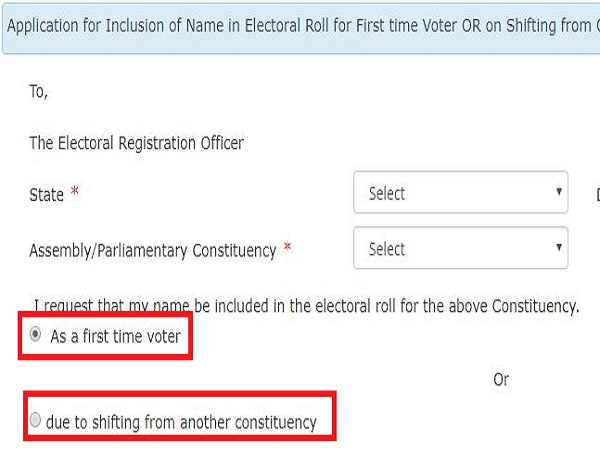 Choose between New Voter ID and change in constituency