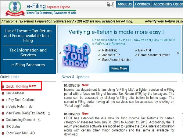 IT Dept Launches E-Filing Lite, Updates ITR Forms After